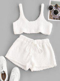 Cropped Fluffy Faux Shearling Pajama Set - White S