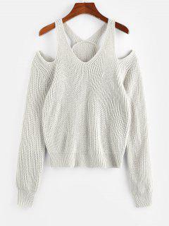 ZAFUL Offener Schulter Ausschnitt Strukturierter Pullover - Hellgrau L