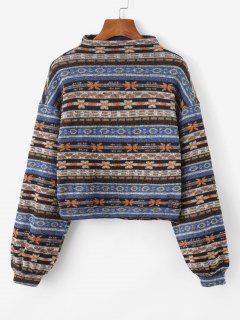 ZAFUL Tribaldruck Gestrickte Hängender Schulter Sweatshirt - Multi-a L