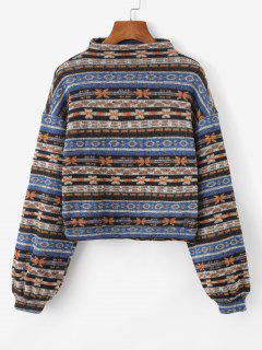 ZAFUL Tribal Print Knitted Drop Shoulder Sweatshirt - Multi-a M