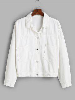 Front Pockets Button Up Plus Size Denim Jacket - White 5x