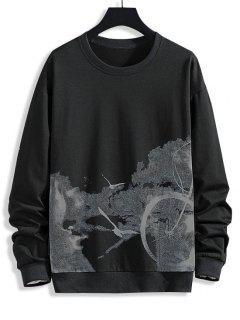 Birds Biker Print Rib-knit Trim Sweatshirt - Black Xs