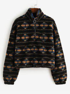 ZAFUL Tribal Print Half Zip Teddy Sweatshirt - Black S