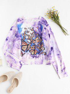 Sudadera De Hombro Caído De Tie-dye Con Estampado De Mariposa - Púrpura L