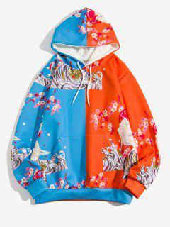 Two Tone Flying Crane Flower Hokusai Print Hoodie - Blueberry Blue L