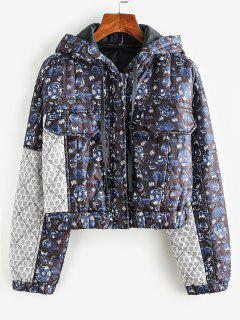 Floral Hooded Zip Padded Coat - Black L