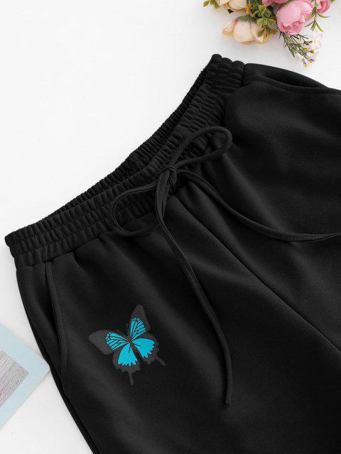 latest French Terry Butterfly Graphic Pocket Sweat Shorts - BLACK S Mobile