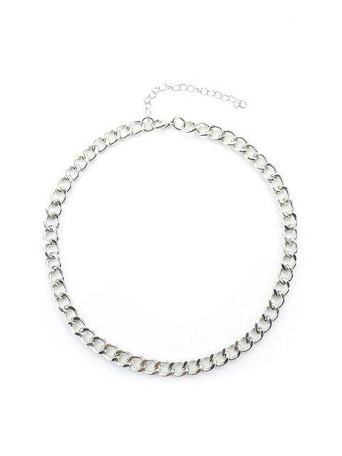 shop Chain Choker Necklace - SILVER  Mobile
