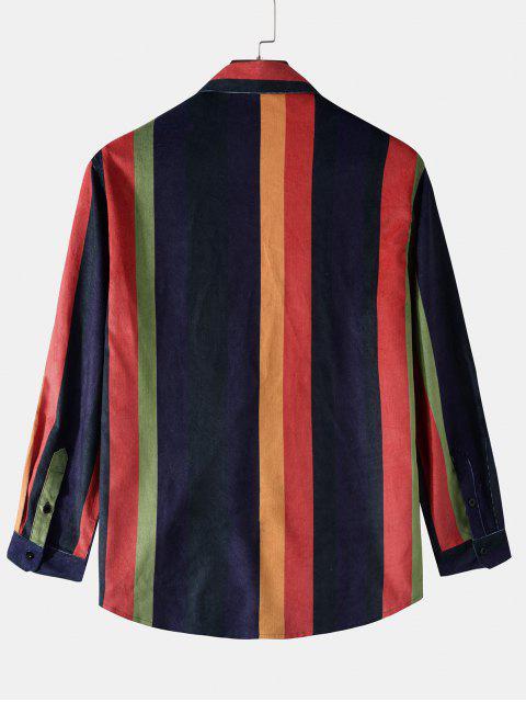 latest Long Sleeve Colorful Striped Print Pocket Shirt - DEEP BLUE XL Mobile
