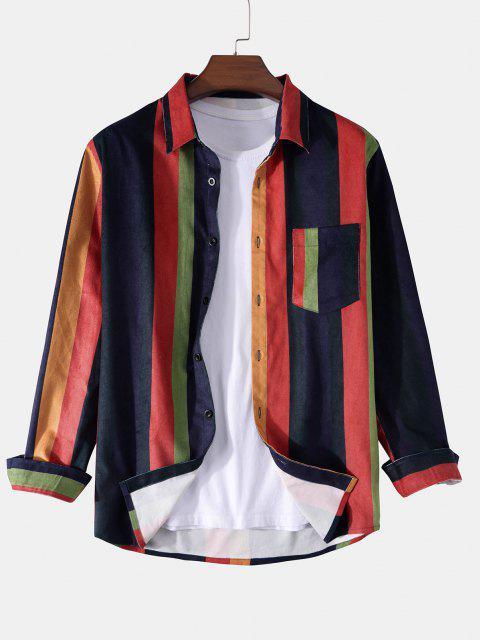 長袖カラフルなストライプ柄ポケットシャツ - 藍色 XL Mobile