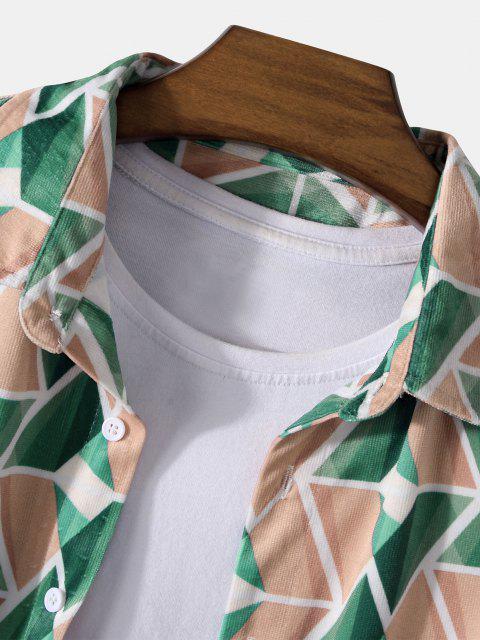 長袖幾何学は、湾曲した裾シャツ - 深緑 M Mobile