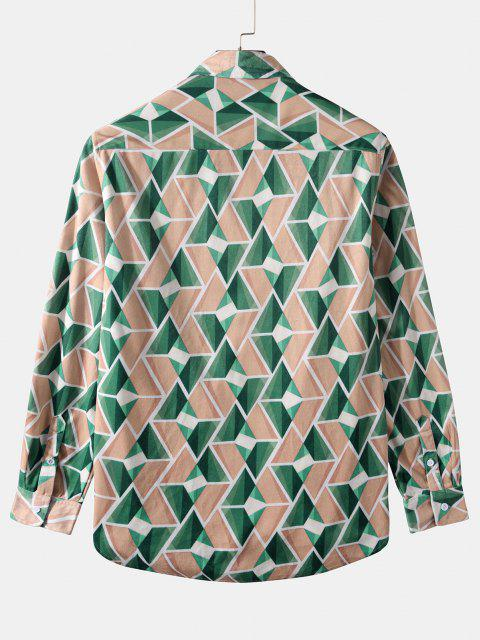Long Sleeve Geometric Print Curved Hem Shirt - ديب غرين M Mobile