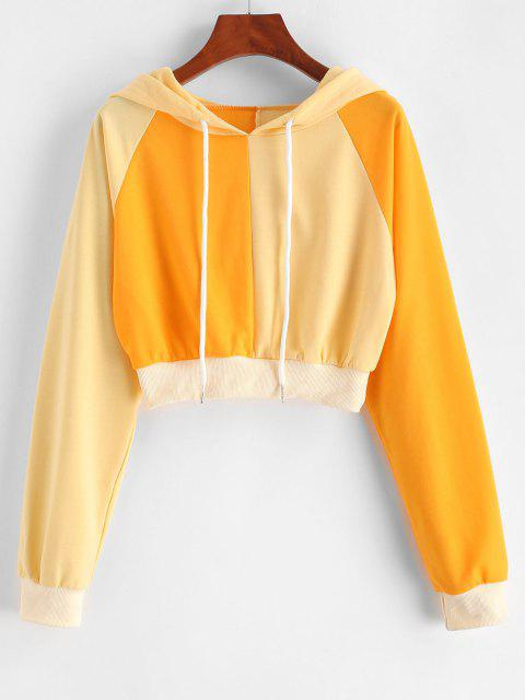 new ZAFUL Bicolor Two Tone Crop Hoodie - YELLOW S Mobile
