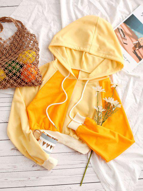 ZAFUL Bicolor Zweifarbiger Crop Hoodie - Gelb XL Mobile
