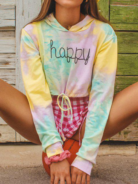 Tie Dye Drawstring Pullover Crop Hoodie - اخضر فاتح S Mobile