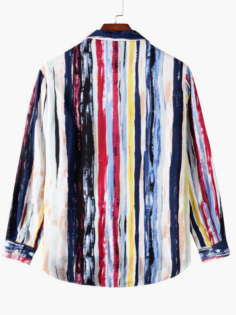 fashion Stripes Print Curved Hem Pocket Shirt - DEEP BLUE L Mobile