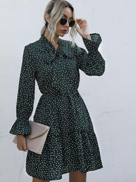 best Polka Dot Bow Tie A Line Dress - DEEP GREEN S Mobile