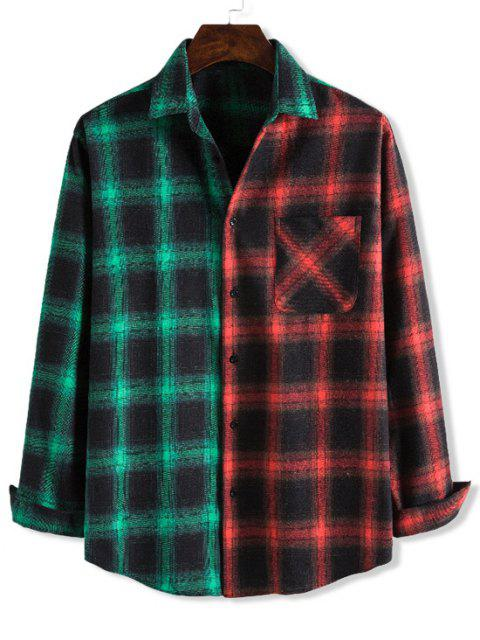 buy Contrast Checked One Pocket Leisure Shirt - MULTI-A L Mobile