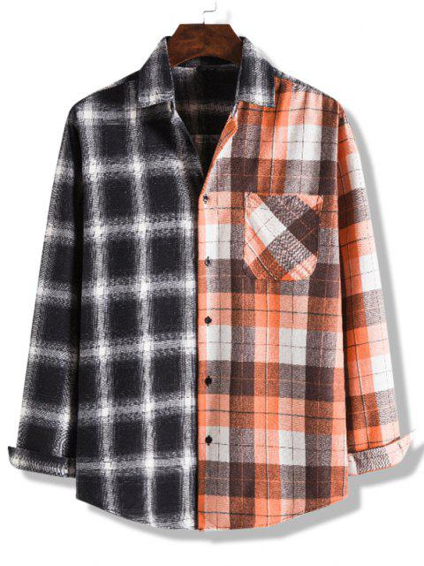 outfits Colorblock Checked Pocket Button Up Shirt - MULTI-C S Mobile