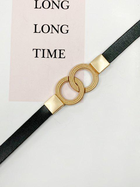 trendy Dual Ring Adjustable Thin Leather Belt - BLACK  Mobile