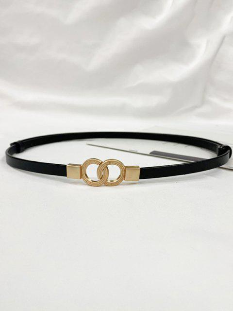 Dual Ring Adjustable Thin Leather Belt - أسود  Mobile