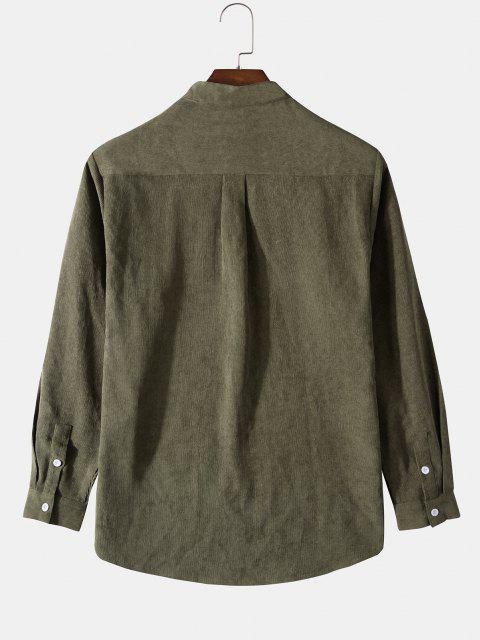 new Half Button Ribbed Corduroy Shirt - GREEN M Mobile