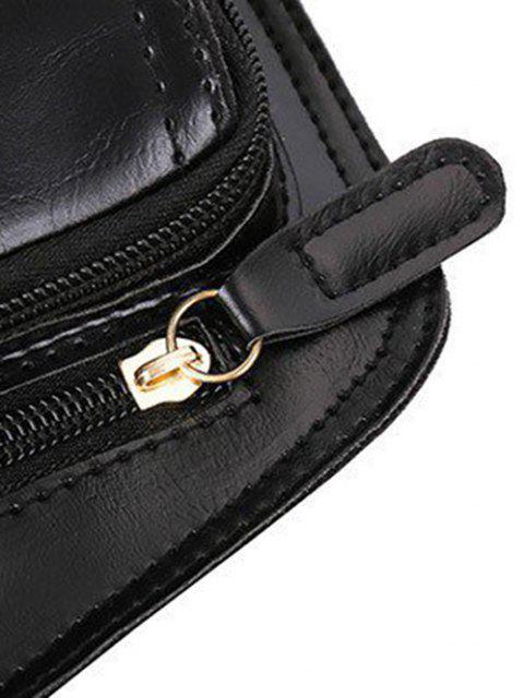 fashion Retro PU Irregular Chest Bag - BLACK  Mobile