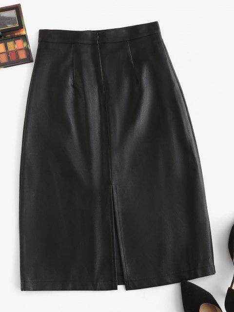 chic Back Zipper Slit PU Leather Skirt - BLACK XL Mobile