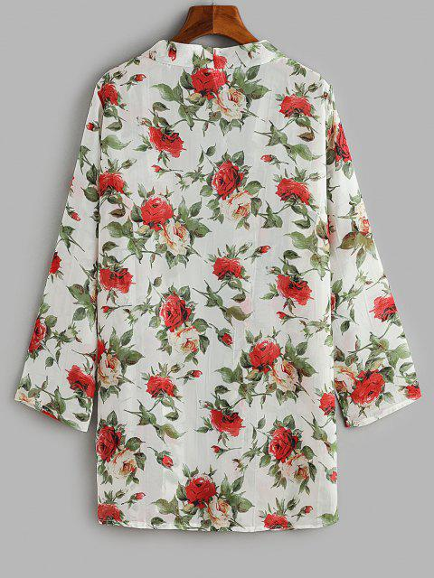buy Flower Print Open Front Cover Up Top - MULTI ONE SIZE Mobile
