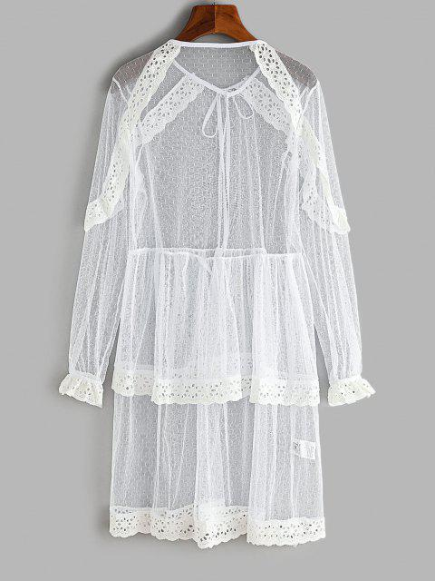 women Lace Eyelet Ruffle Layered Beach Dress - WHITE S Mobile