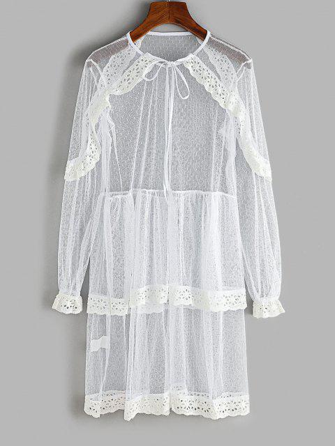 Spitze Öse Rüschen Geschichteten Kleid - Weiß XL Mobile