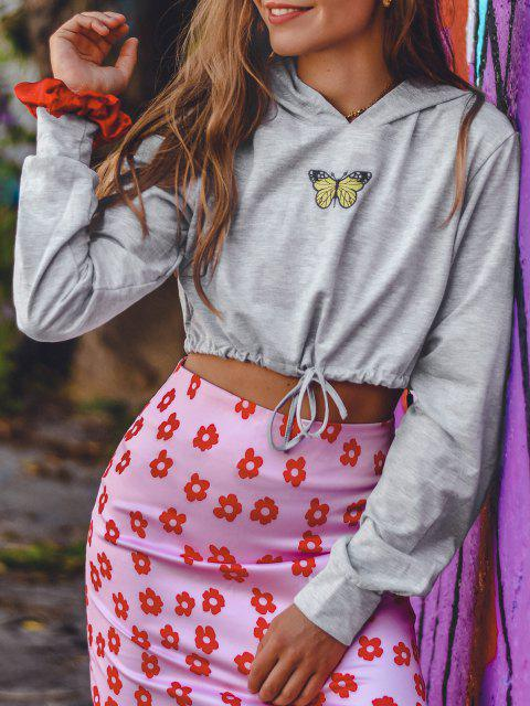Marled Butterfly Embroidered Drawstring Hem Cropped Hoodie - اللون الرمادي L Mobile