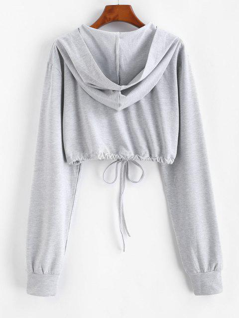 buy Marled Butterfly Embroidered Drawstring Hem Cropped Hoodie - GRAY L Mobile