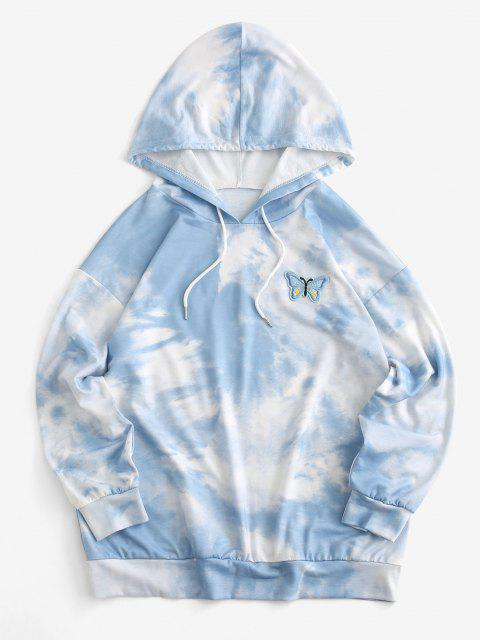 Cloud Tie Dye Butterfly Embroidered Drawstring Drop Shoulder Hoodie - أزرق فاتح S Mobile