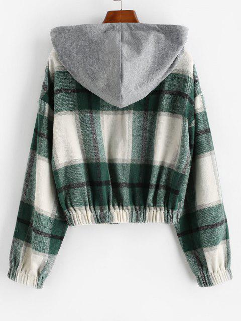 ZAFUL Hooded Plaid Combo Wool Blend Jacket - سلحفاة البحر الخضراء S Mobile