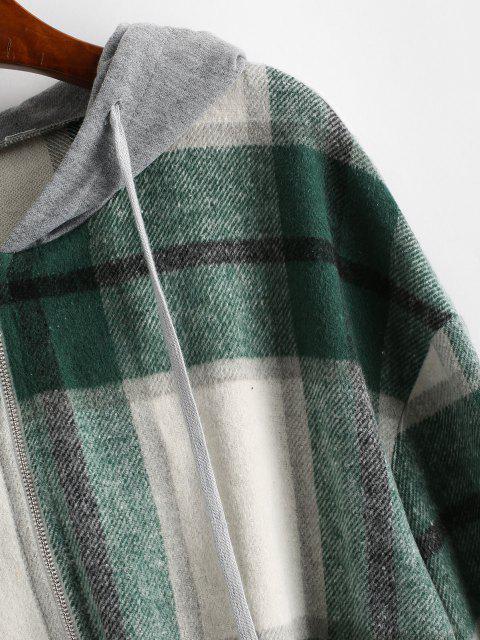 latest ZAFUL Hooded Plaid Combo Wool Blend Jacket - SEA TURTLE GREEN L Mobile