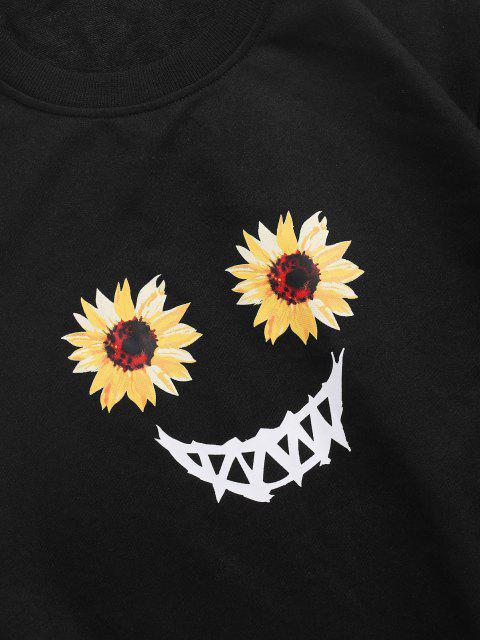 trendy Halloween Scary Smile Sunflower Sweatshirt - BLACK M Mobile