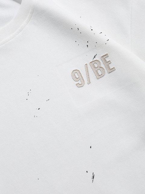 hot Paint Splatter Letter Patch Double Hem Sweatshirt - WHITE XS Mobile