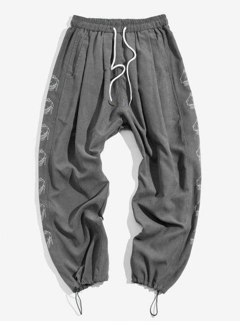 Cartoon Trauriger Mopdruck Elastische Taillen Hose - Dunkelgrau S Mobile