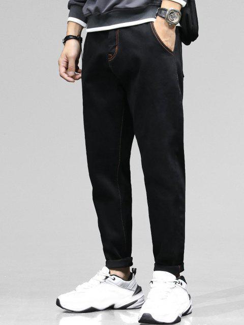 affordable Colorblock Stitching Multi-pocket Applique Jeans - BLACK 38 Mobile