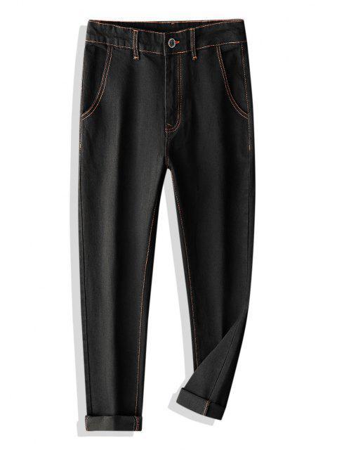 unique Colorblock Stitching Multi-pocket Applique Jeans - BLACK 36 Mobile