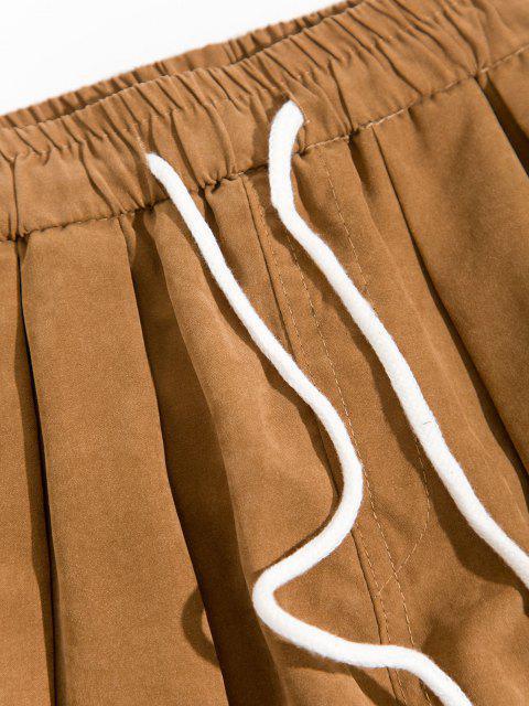 women's Cartoon Croc Pattern Elastic Waist Pants - DARK KHAKI XS Mobile