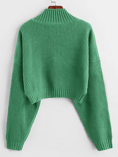 fancy ZAFUL Drop Shoulder Mock Neck Plain Sweater - CYAN OPAQUE L Mobile