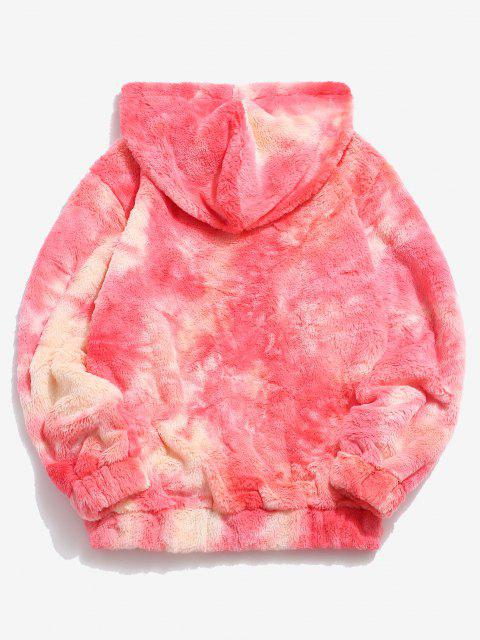 fancy Kangaroo Pocket Tie Dye Pattern Faux Fur Hoodie - LIGHT CORAL M Mobile