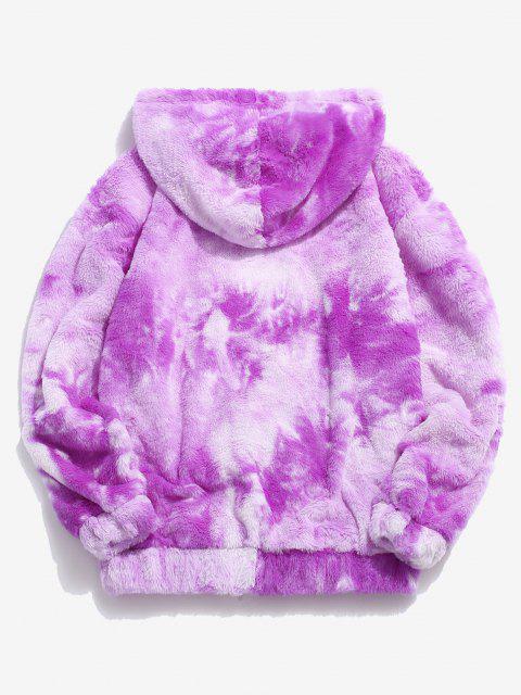 women Kangaroo Pocket Tie Dye Pattern Faux Fur Hoodie - PURPLE L Mobile