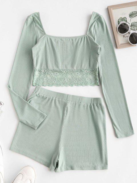 ZAFUL Pyjama Shorts mit Geripptem Spitzeneinsatz Set - Minzgrün M Mobile