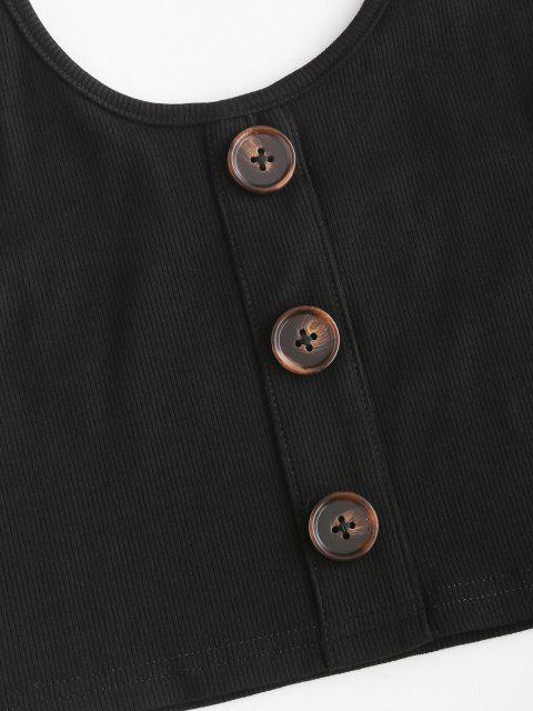 chic ZAFUL Ribbed Halter Mock Button Joggers Set - BLACK L Mobile