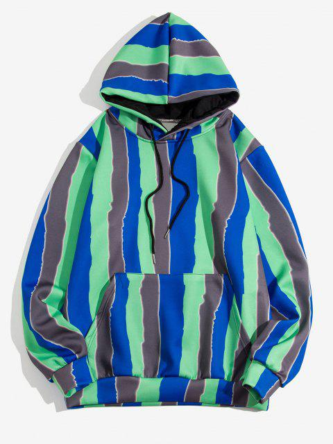 sale Colorblock Striped Pattern Pullover Hoodie - MEDIUM FOREST GREEN L Mobile