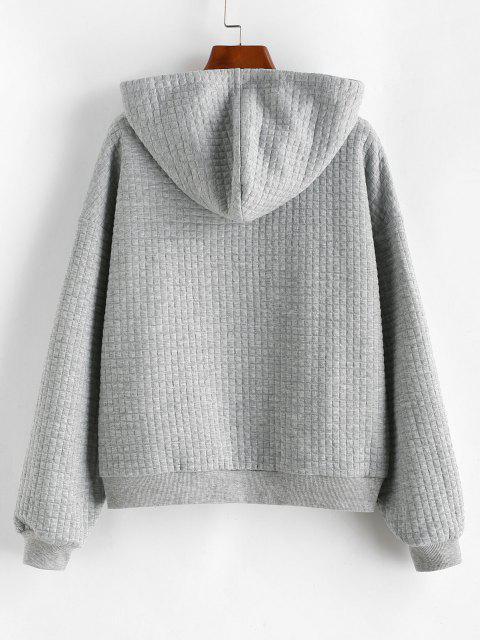 lady ZAFUL Drawstring Textured Kangaroo Pocket Hoodie - GRAY CLOUD XL Mobile