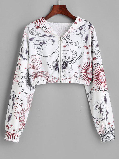 fancy Sun and Wind Print Hooded Zip Crop Jacket - WHITE S Mobile